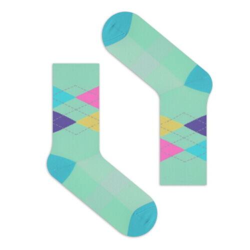 "Fashionable /""CYCREX Cycling Socks/"" Fast Dry /& Compression Fit Mint Argyle"