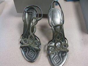 Nine-West-Womens-pewter-Leather-Ankle-Strap-Open-Toe-Heel-Sandal-Shoe-size-9-5