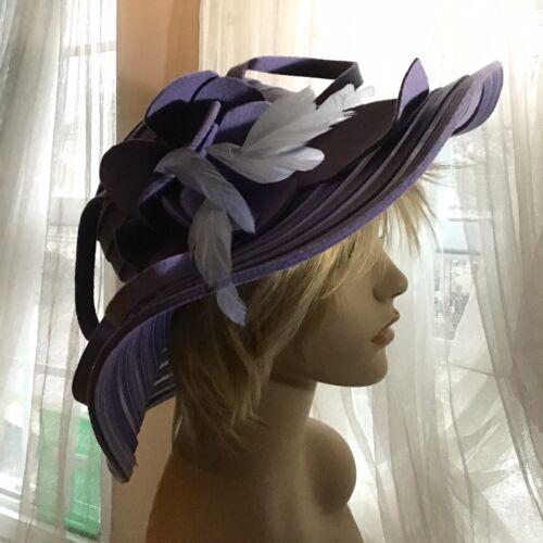 Ladies Vintage Hat 1940,s Wide Brim Feathers,Wool
