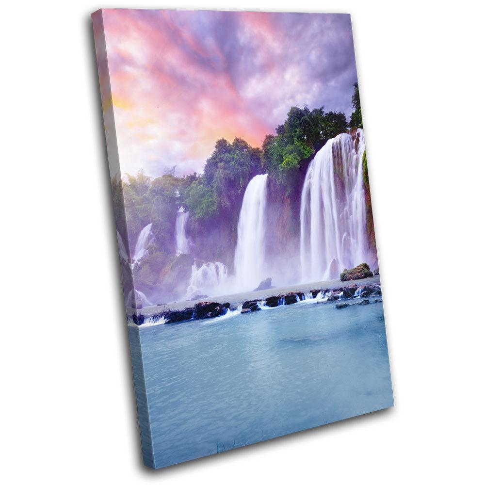 Waterfall sunrise single toile landscapes wall art photo print