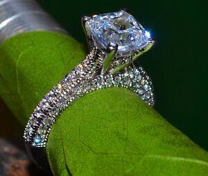 2-56-Ct-Cushion-Cut-Bridal-Diamond-Engagement-Ring-14k-Solid-White-Gold