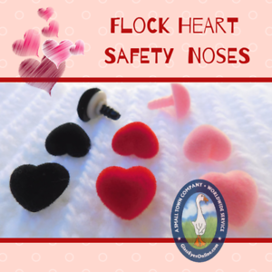 12 Heart Shape Flock Safety Noses Buttons Eyes Teddy Bear Doll Sew Crochet FHN-1