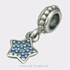 Authentic Pandora Silver Dangle Star Pave Blue CZ Bead 791024CZB