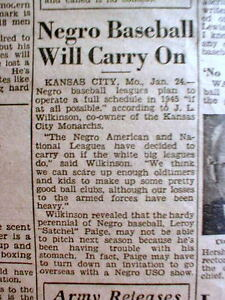 1945 newspaper w announcement that NEGRO LEAGUE BASEBALL to go on despite WW II