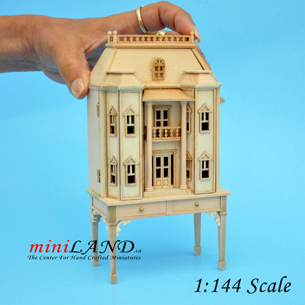 Georgian DOLLHOUSE FOR DOLLHOUSE WITH TABLE UNFINISHED (1:144) wood Top quality