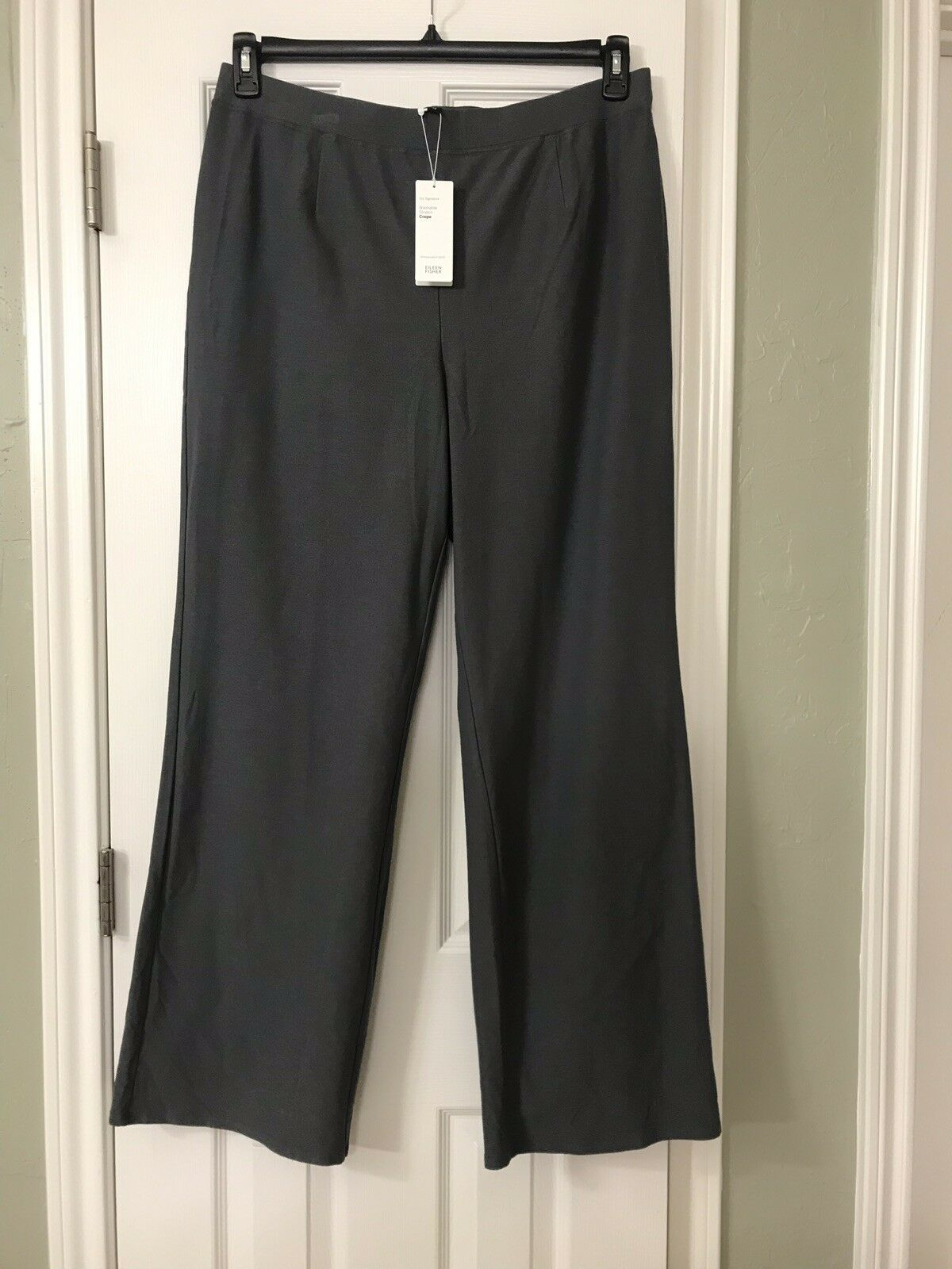 3X NEW EILEEN FISHER ASH WASHABLE STRETCH CREPE MODERN WIDE LEG PANTS WITH YOKE