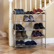 4 Tier Carbon Steel Silver Shoe Rack Closet Organizer Tower Shelf Storage Holder