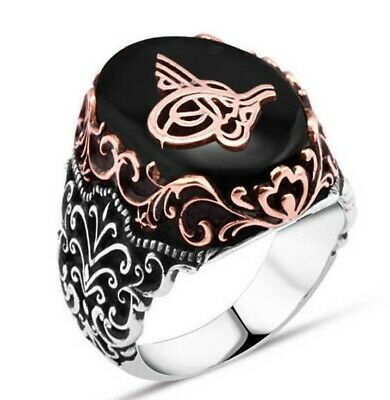Turkish 925 Sterling Silver Ottoman black ONYX stone mens man ring ALL SİZE us