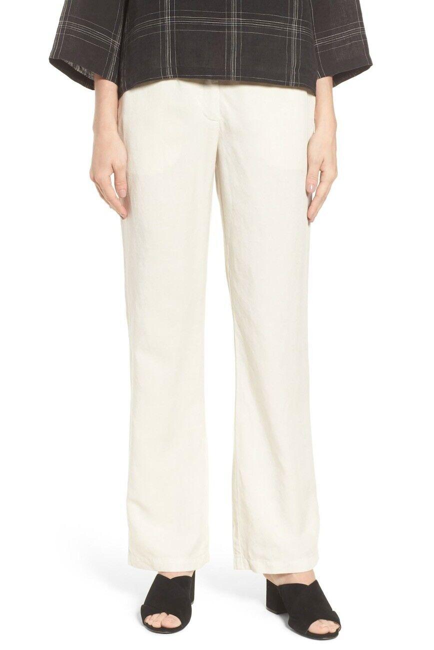 Eileen fisher tenecel linen straight pant bone Sz 0  178
