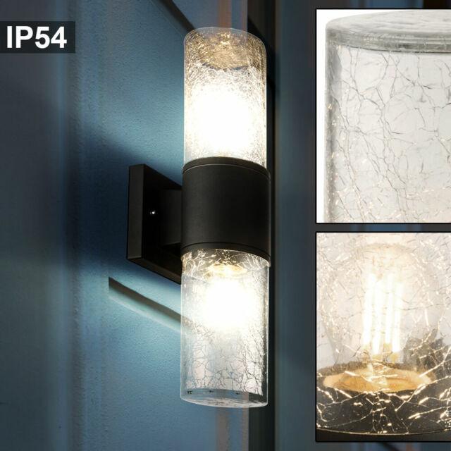 2x LED Außen Wand Leuchten silber Garten Beleuchtung Fassaden Strahler Lampen