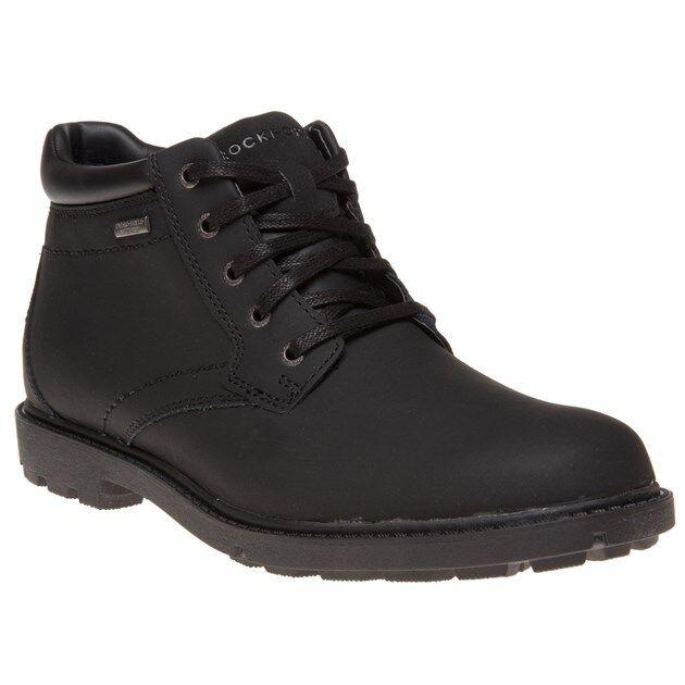 Nuevo para hombre Rockport Negro Storm 2 botas De Cuero Con Encaje