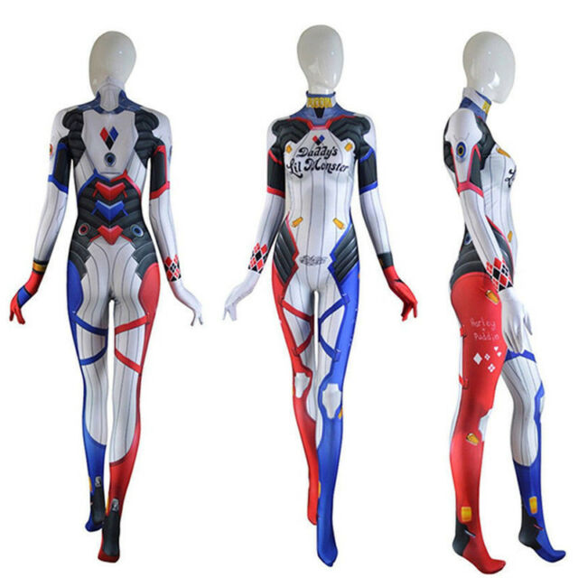 Overwatch Suicide Squad Harley Quinn D.Va Tights Jumpsuit Women Cosplay Costume