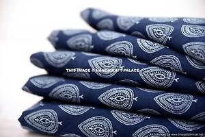 5-Yards-Blue-Hand-Block-Print-Handmade-Indian-Cotton-Fabric-Natural-Jaipuri
