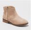 *Cat /& Jack Girls/' Aura Western Style Side Zip Ankle Boot With Block Heel Beige