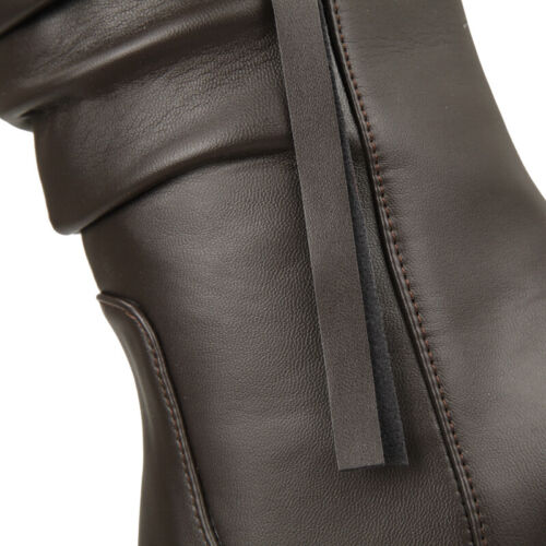 Details about  /Womens Hidden Wedge Heels Leather Mid Calf Boots Slouch Casual Shoes All US 4-15