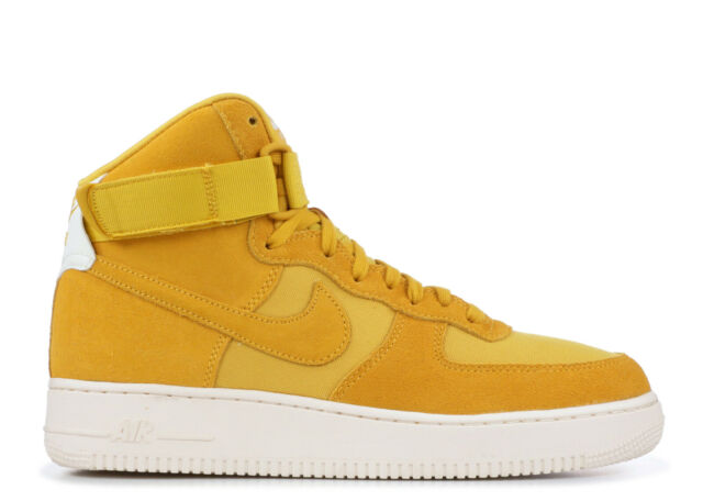Nike Air Force 1 High 07 Suede Mens Aq8649 700 Yellow Ochre Sail Shoes Size 10