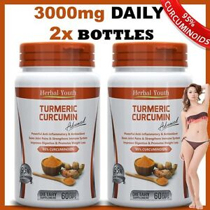 2-x-TURMERIC-BOTTLES-95-CURCUMINOID-HERBAL-YOUTH-PURE-TUMERIC-PILLS-ANTIOXIDANT