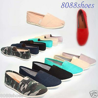 Women's Cute Soda Canvas Round Toe Causal Slip On Flat Sandal Shoes Size 5.5 -10