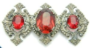 Silver-Tone-Art-Nouveau-Styled-Red-Rhinestone-Ornate-Bar-Pin-Brooch-Vintage