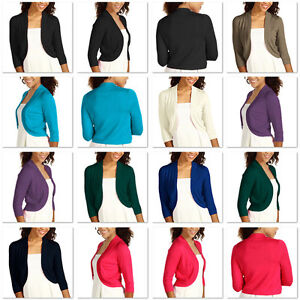 Ladies 3/4 Sleeve Bolero Sweater Jacket Womens Shrug Cardigan S ...