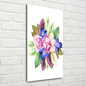 Wandbild-Kunst-Druck-auf-Hart-Glas-hochkant-70x140-Blumenstraus