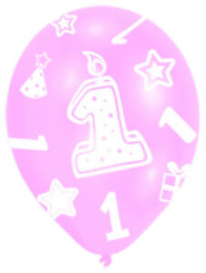 Pink 1st Birthday Balloons AGE 1 Balloons party decorations GIRLS FREE P/&P