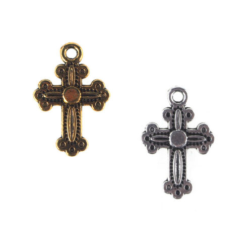 50-Count 3//4-Inch Small Cross Metal Charms
