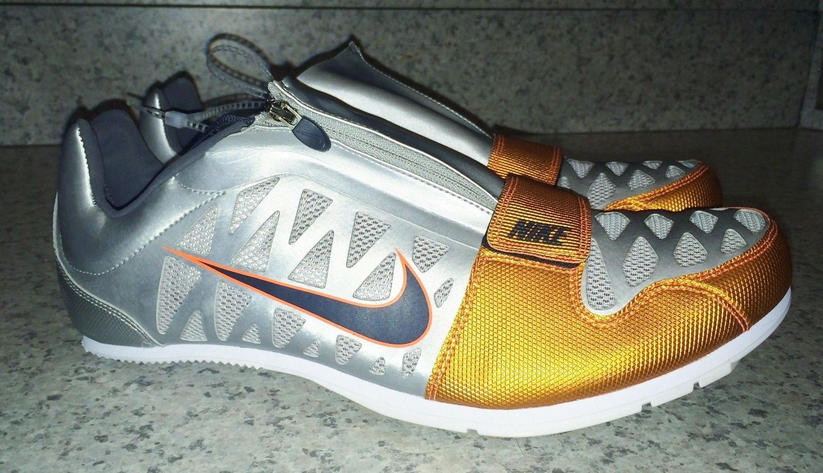 NIKE Zoom LJ 4 Long Jump Jump Jump Pole Vault Track shoes Silver orange NEW Mens 12.5 15 6910a1