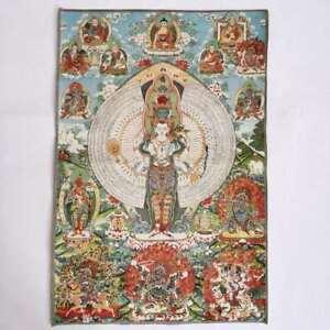 36-034-Tibet-Tibetan-Cloth-Silk-1000-Arms-Avalokiteshvara-Kwan-yin-Tangka-Thangka
