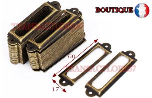 lot 8 Porte etiquette   60x17  Casier Tiroir Meuble de Metier Poignée Ancien