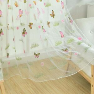 Details about Window Curtains Sheer Tulle For Bedroom Balcony Kitchen Green  Grass Butterfly OW