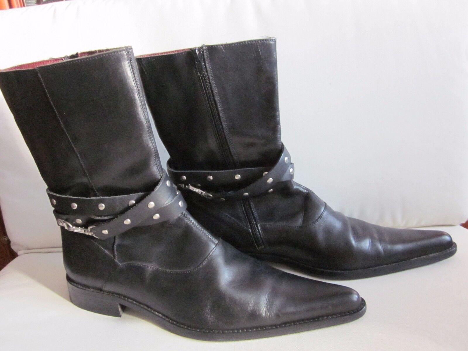 ZARA MADE IN PORTUGAL Herren Designerstiefel Größe 45 Echt Leder schwarz