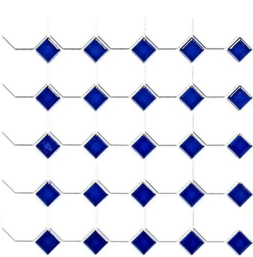 Keramikmosaik Octagon weiß matt mit blau glänzend Küche Art:13-OctaG464 10Matten