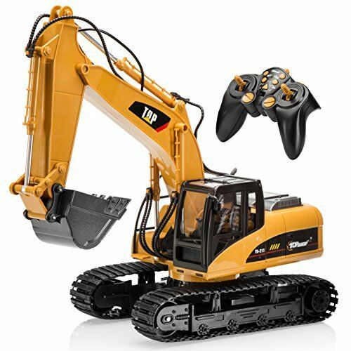 Top Race® 15 Channel Full Functional Professional RC Excavator, Battery Powered