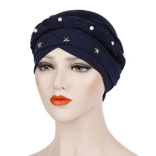 Women Beaded Braided Headwear Turban Hat Muslim Hijab Cap Bandana Chemo Beanie