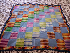 Vintage Wool Granny Square Colorful Patchwork Woven Crochet Throw Baby Blanket