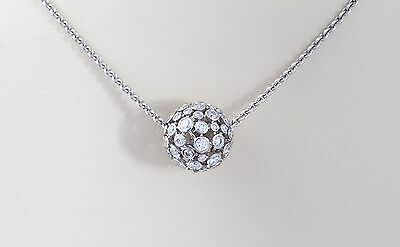 Estate 18k White Gold 2.00 cts Disco Ball Diamond Necklace
