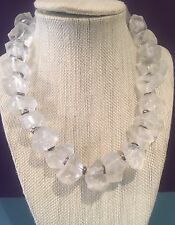 CHUNKY VINTAGE BIG FROSTED LUCITE NUGGET NECKLACE SILVER BEAD SPACERS VERY COOL