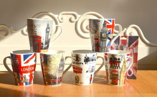 Set of 6 Mugs 11 oz Coffee Tea Cup London Icon Big Ben Telebooth Bus Free gift