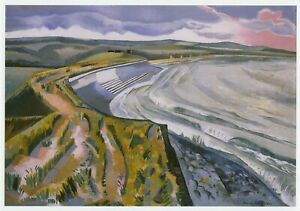 Wall-against-the-Sea-Dymchurch-Paul-Nash-print-in-a-10-x-12-inch-mount-SUPERB