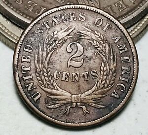1866 Two Cent Piece 2C High Grade Details Civil War Era US Copper Coin CC7187