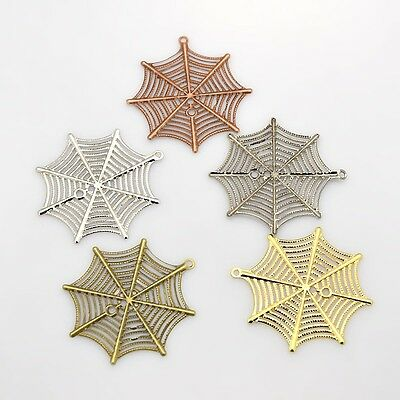 4 x Filigree Spider Web Plating Iron Pendant, 42mmx39mm, 0.7mm thick, Hole: 1mm