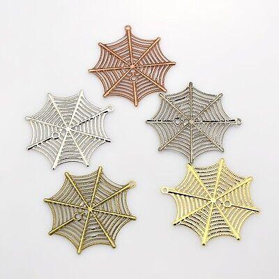 4 x Filigree Spider Web Plating Iron Pendant, 42mmx39mm, 0.7mm thick, Hole: 1mm