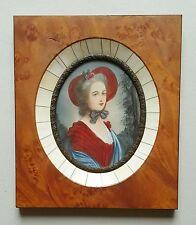 Miniatur Bildnis Portrait einer jungen Dame mit Hut, Gouache Malerei