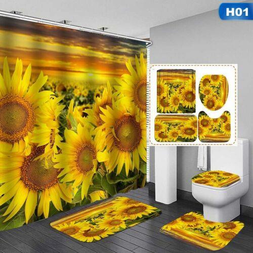 Sunflower Bathroom Shower Curtains Non Slip Toilet Polyester Cover Mat Set