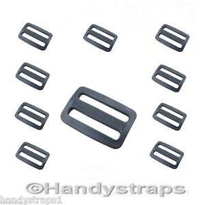 Slides-Buckles-10-x-3-Bar-for-25mm-Webbing-Black-Plastic-Handy-Straps