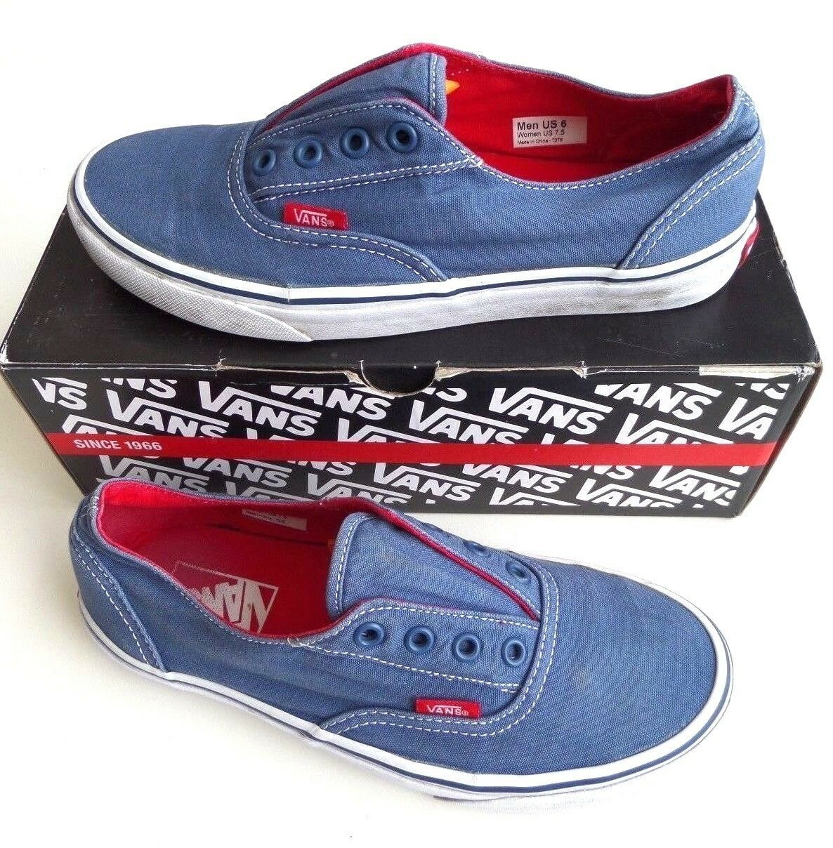 Vans Authentic bluee White Lo Pro Red Sole Lace-Less Men's 6 Women's 7.5