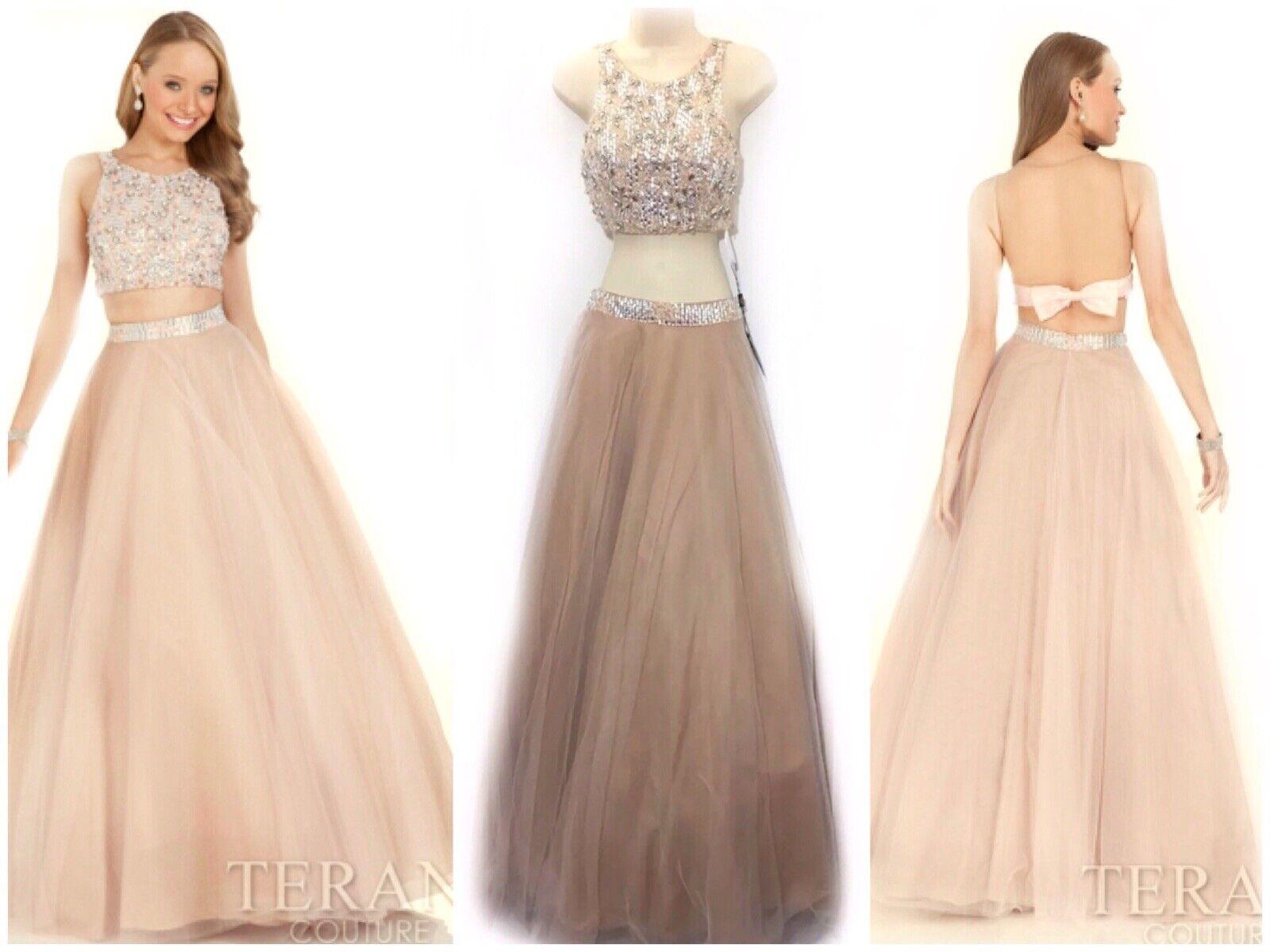Rubor Nude Terani Couture 2 Tul Cristal Con  Cuentas Vestido de dos piezas 1611P1021  950  promociones