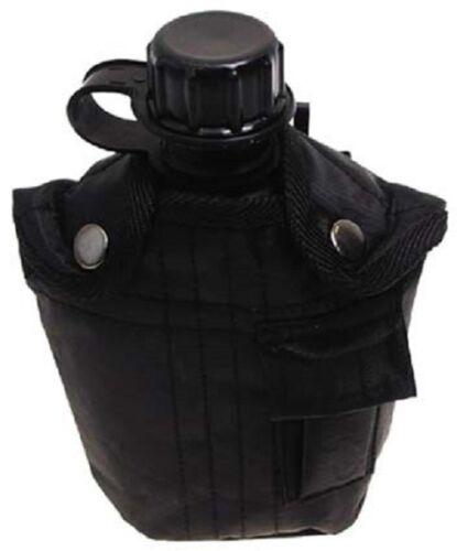 Feldflasche Kunststoff Trinkflasche mit Tarn Nylonbezug schwarz 1 Liter NEU !