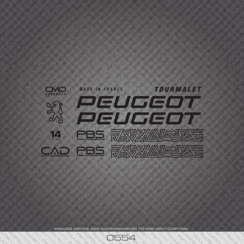 0554 Peugeot Bicycle Frame Stickers Decals Transfers